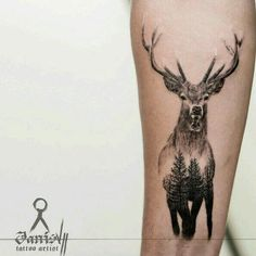 Tattoo Spirit - 001 -Home - Tattoo Spirit - 001 - Pour Curtis?, Deer Forest Realistic Tattoo Black and Grey Joel Meyer Super tattoo animal deer inspiration ideas A fun, high contrast double exposure Stag for Ross Trendy Tattoos, Small Tattoos, Tattoos For Guys, Tattoos For Women, Cool Tattoos, Spirit Animal Tattoo, Spirit Tattoo, Animal Tattoos, Elephant Tattoos