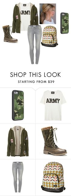 """""""Army Green"""" by kayley2103 ❤ liked on Polyvore featuring NLST, Topshop, Muk Luks, Paige Denim and Volcom"""