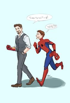 """dchanberry: """"I really loved the mentorship dynamic between these two in the movie, I just had to draw Tony with his spider son. XD """" - Visit to grab an amazing super hero shirt now on sale!"""