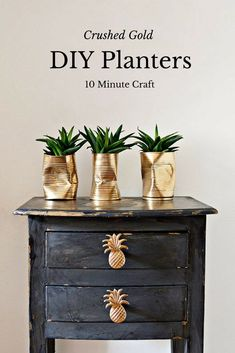 10 minute planter craft. Crushed gold can DIY planters. For that shabby glam look. Diy Home Decor Projects, Home Crafts, Easy Crafts, Easy Diy, Decor Ideas, Decor Crafts, Craft Ideas, Gold Diy, Diy Upcycling