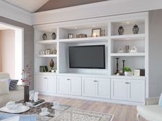 The RTA Store's Aspen White Shaker TV Room cabinet collection offers a fresh, crisp, and clean look to any TV Room. Shop RTA TV Room Cabinets and save! Built In Tv Cabinet, Built In Wall Units, Built In Shelves Living Room, Living Room Wall Units, Living Room Tv Unit Designs, Home Living Room, White Tv Cabinet, Tv Built In, Tv Wall Unit Designs