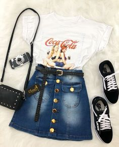 Cute Jean Skirt Outfits to Create Perfect Street Style - Outfit Styles Outfit Ideas For Teen Girls, Teenage Outfits, Outfits For Teens, Trendy Outfits, Jean Skirt Outfits, Crop Top Outfits, Mode Outfits, Party Outfits, Denim Skirt