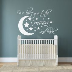 Remind your little one how much you love them with these beautiful nursery wall decals. These stickers say We love you to the moon and back and are Moon Nursery, Star Nursery, Nursery Wall Decals, Baby Nursery Decor, Nursery Themes, Nursery Room, Girl Nursery, Girl Room, Nursery Ideas