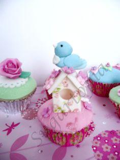 #cath kidston #birdhouse cupcake #cupcake #vintage #bird cupcake