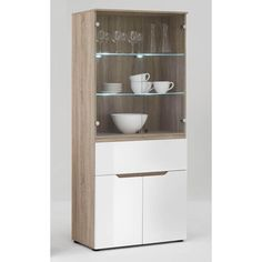 Diva3 Tall Lighted Display Cabinet in Gloss White Oak