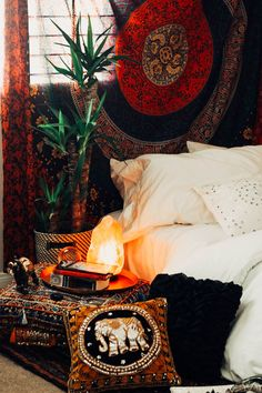 Root Chakra Bedroom❤️ Design by @kaitlynjohnsondesign ☽ ✩ Bohemian Boho Bungalow Red Chakra Bedroom    Save 25% off all orders with code PINTERESTXO at checkout   Shop Now LadyScorpio101.com
