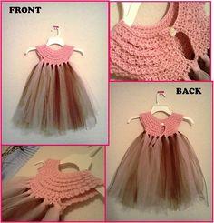 """Mixed-up dress"" crochet top, tulle tutu skirt. Crochet a yoke/bodice then attach tulle Crochet Girls, Crochet Baby Clothes, Crochet For Kids, Knit Crochet, Crochet Dresses, Crochet Summer, Crochet Crafts, Crochet Projects, Sewing Dress"