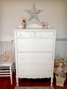 Beautiful antique white dresser to go in the girls room!