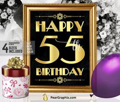 Happy 55th Birthday Sign Printable Decor Roaring 20s Gatsby Party Decoration