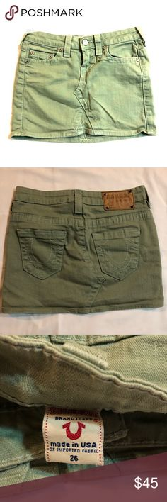 True Religion Army Cargo Green Denim Mini Skirt Pre-owned in good condition no flaws, Zipper fly closure •Mini Length • I will make every effort to describe the condition of my listings. The photo on the listing show the actual condition of the item. True Religion Skirts