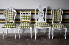 assorted dining chairs with same fabric- LOVE
