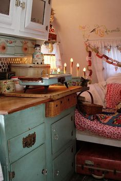 Old cabinets/dresser, baskets, bed
