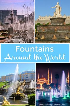 Famous Fountains around the World.  A collaboration from talented travel bloggers to showcase fountains to be enjoyed on your next travel destination.  From the famous Trevi Fountain to the amazing Bellagio Hotel Fountain in Las Vegas.  #fountains #worldtravel #trevifountain #Bellagio #Dubai #BadenBaden #Paris #travel #basel #Chicago #Russia #Savannah #Bucharest #Barcelona #Sultanahmet #Sharjah #Australia
