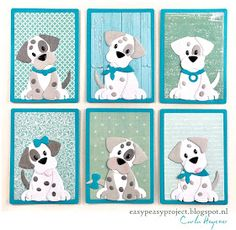Marianne Design - Eline Pellinkhof - Dalmatian Puppies - ATC's Atc Cards, Paper Cards, Dog Quilts, Baby Quilts, Marianne Design Cards, Animal Cards, Artist Trading Cards, Punch Art, Stuffed Animal Patterns