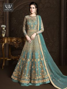 Teal blue lehenga pant kameez with dupatta. Fabric - Net and sana silk. Work - Heavy hand work embroidery and stones. Kameez length is approximately inches. Anarkali Lehenga, Blue Lehenga, Indian Lehenga, Silk Lehenga, Anarkali Suits, Pakistani, Wedding Salwar Suits, Wedding Gowns, Lehenga Collection