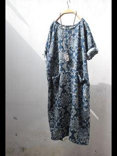 Fleur - Cotton retro floral dress - blue