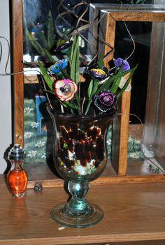 Heavy Glass Vase Floral Arrangement Up Cycled Pencil Shaving Flowers by GinasCornerCrafts, $47.00  http://www.etsy.com/shop/Ginascornercrafts