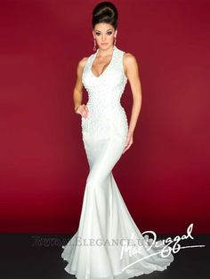 Mac Duggal Dress - Sleeveless plunge evening dress with beaded bodice by Mac Duggal Black White Red Dressy Dresses, Prom Dresses, Wedding Dresses, Dresses 2014, Bridal Gowns, Glamorous Dresses, Beautiful Dresses, Fabulous Dresses, Types Of Wedding Gowns