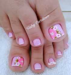 Pink and floral French pedicure. French Pedicure, Pedicure Nail Art, Pedicure Designs, Toe Nail Designs, Toe Nail Art, Pedicure Ideas, Gel Nail, Nail Polish, Pretty Toe Nails