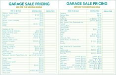How to Host the Perfect Garage Sale Printable Set printable garage sale price list, yard sale price list, yard sale pricing guide, price stickers