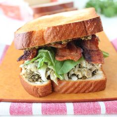 Pesto Egg and Bacon Breakfast Sandwich @FoodBlogs