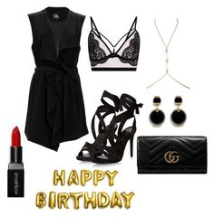 """little black dress"" by jewel-vonnya-lee on Polyvore featuring SUGAR LIPS, Gucci and Smashbox"