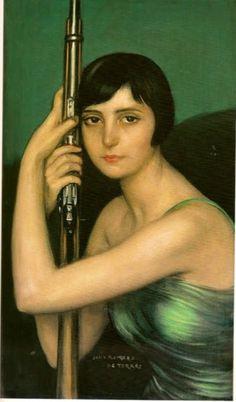 La escopeta de caza by Julio Romero de Torres (Spanish 1874-1930)