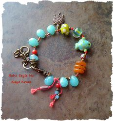 This fun Boho bracelet is perfect for layering with additional bracelets for that trending Boho style. Full of vibrant colors, rustic brass and