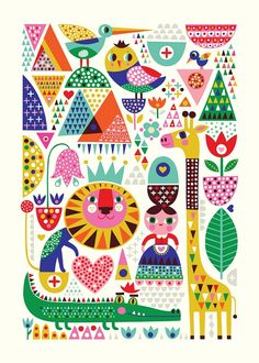 New print by Helen Dardik -Scandinavian Zoo-