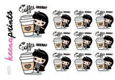 A622 | COFFEE stickers - Wednesday coffee break stickers, emotion stickers…