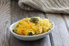 This broccoli cheddar spaghetti squash bake is as comforting as it is good for you. Packed with vitamins, it's a delicious vegetarian dinner.