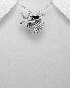 STERLING SILVER SHELL AND STARFISH PENDANT NECKLACE