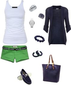 """green & navy summer"" I love those green shorts Summer Wear, Spring Summer Fashion, Spring Outfits, Short Outfits, Cool Outfits, Casual Outfits, Country Outfits, Old Gringo, Look Fashion"
