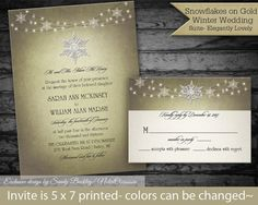 Snowflake Winter Wedding Invitations | Snowflake wedding Invitations for Winter Weddings | Dangling Lights | DIY DIgital Wedding Printable by NotedOccasions, $45.00