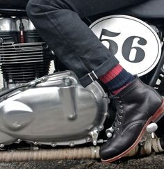 Bike action, Wolverine boot, Selvedge pant.