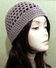 Crocheted Mesh Hat Mesh Cap Beanie Silver Grey ♥ by jazzicrafts Mesh Hats 5a8318b1aa8