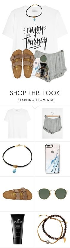 """""""life is writing with a pencil with no eraser (tag)"""" by madiweeksss ❤ liked on Polyvore featuring Yves Saint Laurent, Casetify, Birkenstock, Ray-Ban, Boscia, Tai and Essie"""