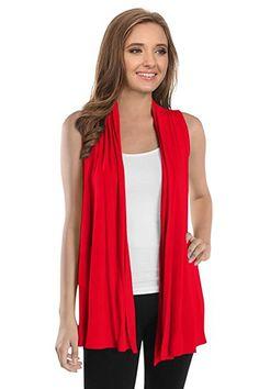 a325b6b26b6e7f  16.99 Womens Asymmetrical Draped Open Front Cardigan Jersey Knit Sleeveless  Vest - USA at Amazon Women s Clothing store