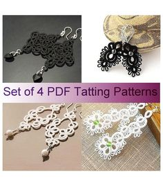tatted lace images | Lace: Tatting Patterns, tatted lace earrings patterns, Set of 4 PDF ...