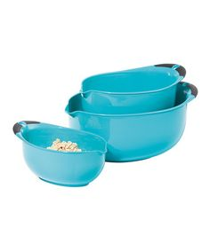 Look what I found on #zulily! Aqua Oval Three-Piece Mixing Bowl Set #zulilyfinds