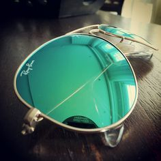 Ray-Ban green aviator flash sunglasses