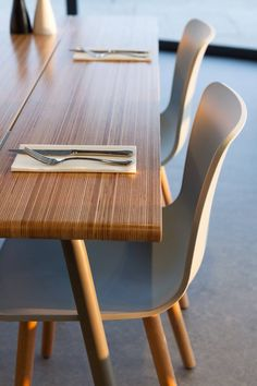 nother shot of our Edge Ply Table, pictured here at Gara Rock restaurant. Top made in birch plywood on edge with hardwax oil finish, powder coated tubular steel legs. http://www.tandemstudio.co.uk/edgeplytable.html