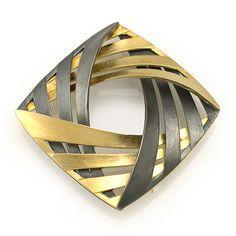Moire Interwoven Pin/Pendant - 18K Yellow Gold, Oxidized Sterling Silver by Keiko Mita