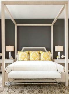 Sherwin-Williams Urbane Bronze.I want a grey bedroom with white and yellow accents..