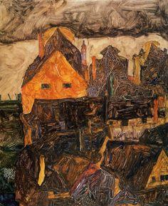 Krumau en el Molde de Egon Schiele Tamaño: 42.5x34 cm  Medio: óleo sobre tabla
