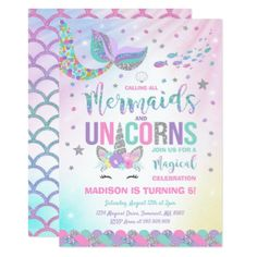 Rainbow unicorn party invitation printed unicorn birthday mermaid unicorn birthday invitation magic party stopboris Choice Image