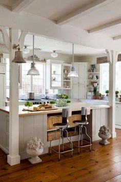 Beach Cottage, Kitchen Beach Cottage Style, mixed in with a little of each, Traditional, Craftsman and Modern Beach Cottage Kitchens, Beach Cottage Style, Beach House Decor, Home Kitchens, Home Decor, Cottage Homes, Beach Condo, Decor Crafts, Open Kitchen