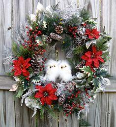 Winter Woodland Snow Owls Christmas Wreath by IrishGirlsWreaths, $129.99