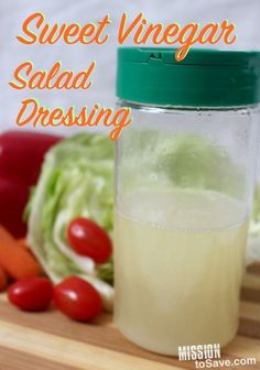 This Sweet Vinegar Salad Dressing is perfect in many recipes. I omit the garlic salt and add regular s&p. This dressing is perfect for any salad.and it tastes clean and fresh. Oil Vinegar Dressing, Salad Vinegar, Vinegar And Oil Salad Dressing Recipe, Cider Vinegar, Coleslaw Dressing, Salad Dressing Recipes, Salad Recipes, Vingerette Dressing, Vinegrette Salad Dressing