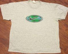Nike Gray T-Shirt Sz XL Black Swoosh Green Blue Graphics 100% Cotton Very Soft! #Nike #GraphicTee